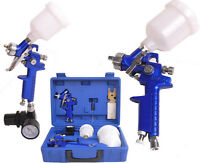 0.8 & 1.4 Nozzle Paint Base Primer Hvlp 2-spray Guns Kit Gauge Auto Gravity Feed on sale