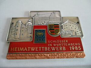 Vintage-PORSCHE-Automobile-Club-Meeting-Porcelain-Enamel-Grill-Logo-Badge-Sign