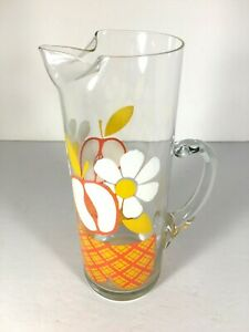 Vintage-Apple-Floral-Glass-Beverage-Pitcher-9-034-Mid-Century-Drink-Juice