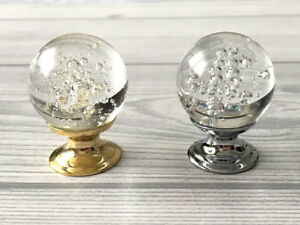 Details About Bubble Glass Drawer Knob Kitchen Cabinet Door Knobs Silver  Gold Dresser Pulls