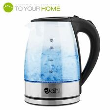 Dihl Blue LED Glass Kettle Illuminating Cordless Electric Jug Filter 1800W 1.8L