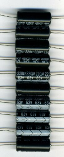 LOT DE 10 CONDENSATEURS 220 µF 63 Volts SORTIES AXIALES