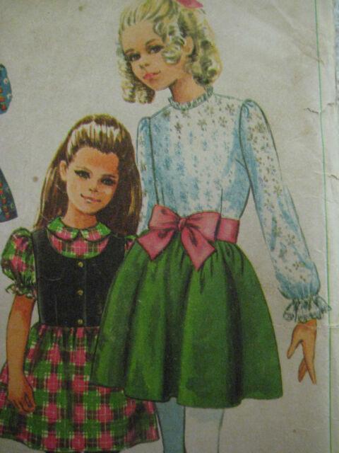 Vintage Simplicity 7836 RIBBON TIE BELTED DRESS RUFFLES Sewing Pattern Girl Sz 6
