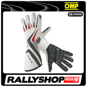 FIA-OMP-One-S-RACE-one-s-Karthandschuh-Handschuhe-Professionell-Sport-Weiss