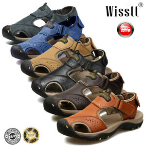 Mens-Summer-Hiking-Leather-Sandals-Wading-Closed-Toe-Fisherman-Beach-Water-Shoes