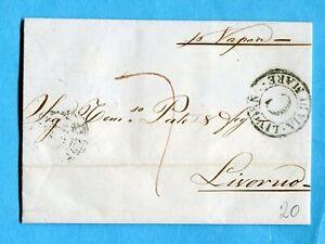 """1854 """"per Vapore"""" Manoscritto Sul Fronte + Livorno / Via Di Mare / C (272333)"""