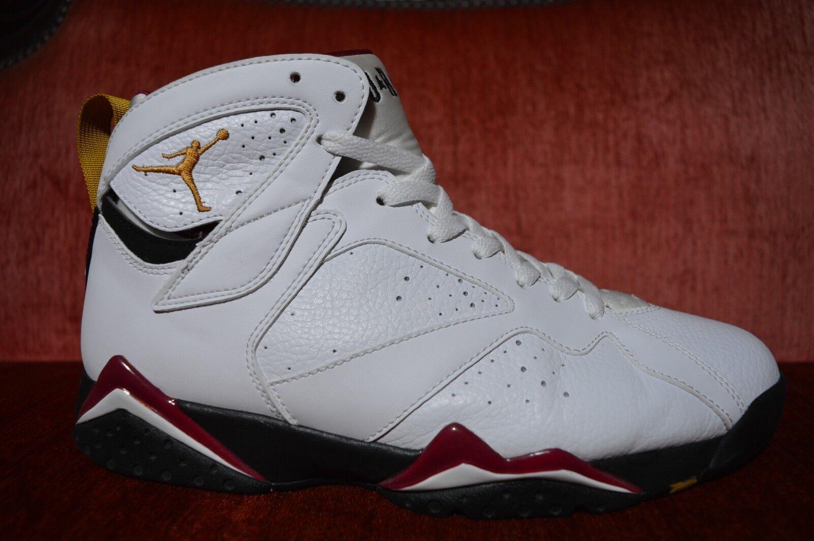 WORN 2X Nike Air Jordan White Black Cardinal Vll 7 Retro Size 10 304775-104 Red