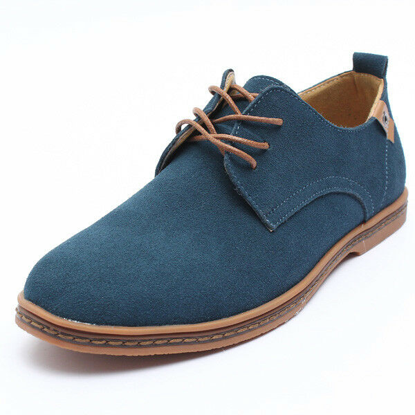 Men's Suede European Style Leather Shoes Lace Up Oxfords Casual Flat Shoes Sport