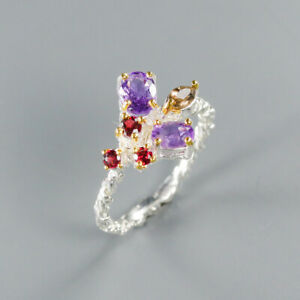 Amethyst Ring 925 Sterling Silver Size 9 /RT20-0001