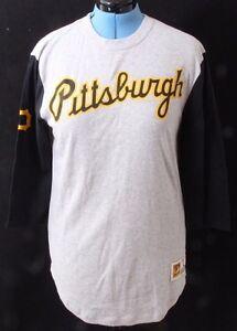 Mitchell-amp-Ness-Pittsburgh-Pirates-MLB-3-4-Sleeve-Knit-Tee-Shirt-Women-039-s-L