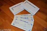 Lot Of 100 Gift Certificate & Envelopes Blank , Custom , Store , Kit Bundle