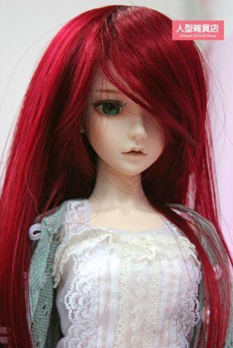 BJD Doll 1//3 9-10 Wig Long Hair Side-partings Slanted Bangs for Girl Dark red