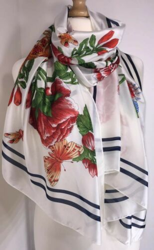 Designer Inspired Scarf Floral Butterflies White Exotic Oversized Silky Long NEW