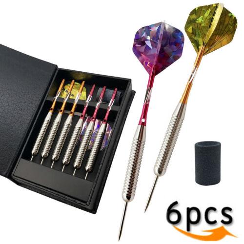 6PCS 25g Darts W 3D Reflective Pet Flights Aluminium Shaft Iron Barrel Steel tip