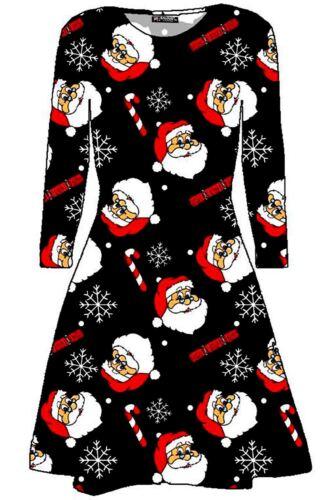 Women Christmas Xmas Santa Snowman Snowflakes Bell Ladies Flare Swing Mini Dress