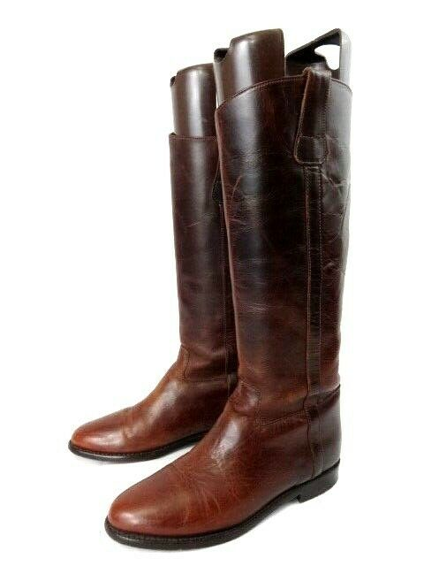 Vintage Cole Haan Tall Brown Saddle Leather Riding Western Boots Size 7AA