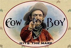 VINTAGE-Western-COWBOY-Antique-Era-CANVAS-Cigar-Box-Label-Art-LARGE