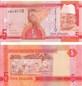 Gambia-5-Dalasis-2015-UNC-Pick-New-Series-Z-Replacement