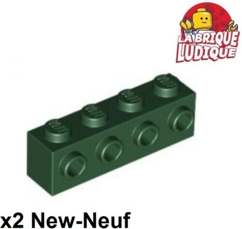2x Brique Brick Modified 1x4 4 Studs 1 Side vert f//dark green 30414 NEUF Lego