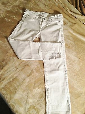 KUT from the Kloth  Sz 12 White Mid Rise 33X 29 Katy Boyfriend Jeans