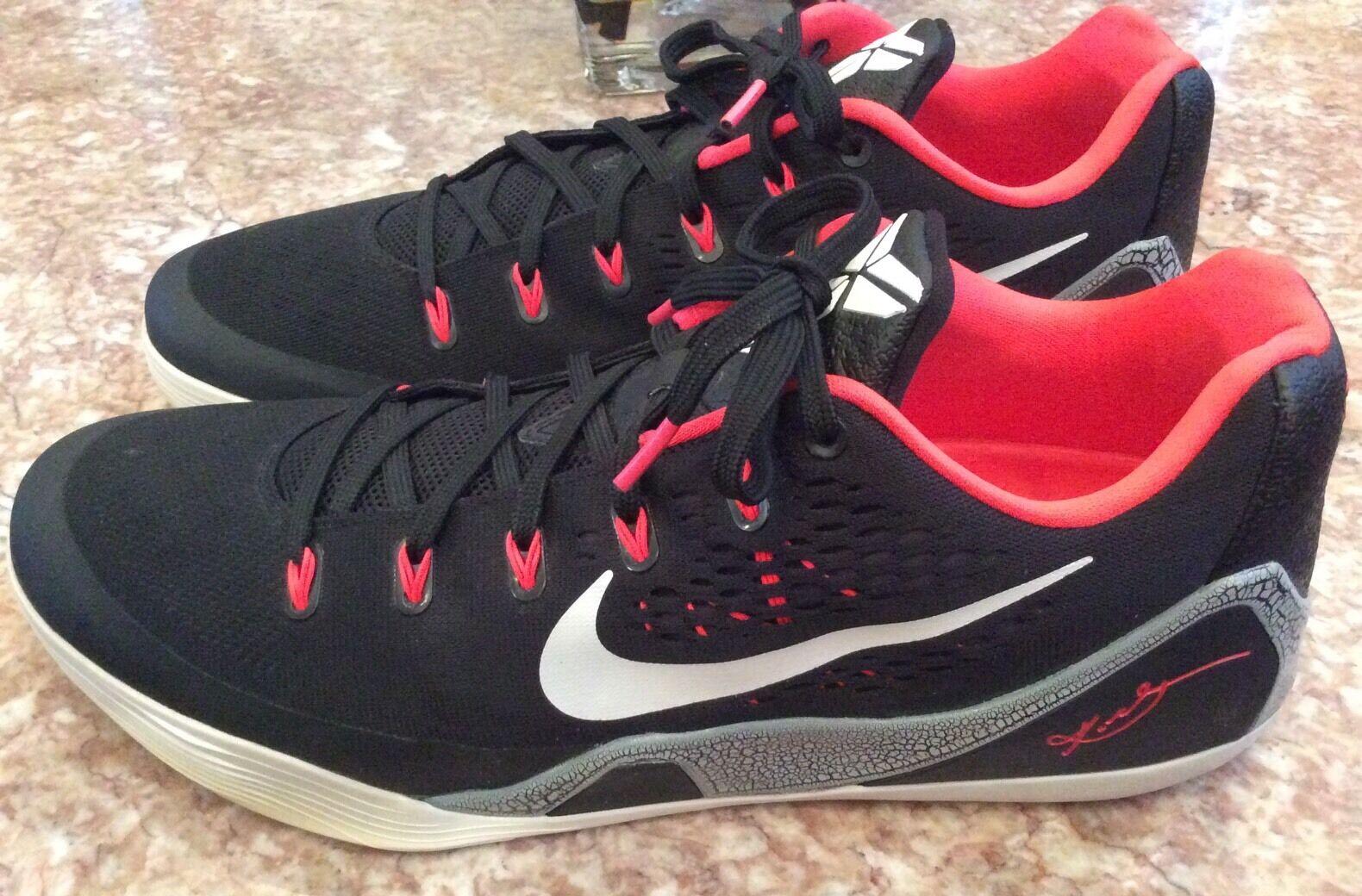 Nike Kobe 9 IX Low EM Black White Laser Crimson Cement XI Size 14, 646701-001