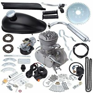 Black-2-Stroke-80cc-Gas-Bike-Engine-Motor-Kit-DIY-Motorized-Bicycle-Chrome-pipe