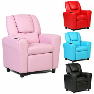 Kids Sofa Recliner Couch Armchair W/Footrest Cup Holder ...