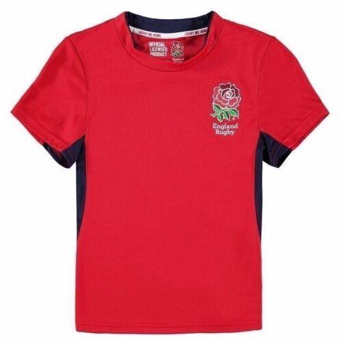 Junior Boys RFU Lightweight England Team Crest Poly T Shirt Top Size Age 7-13