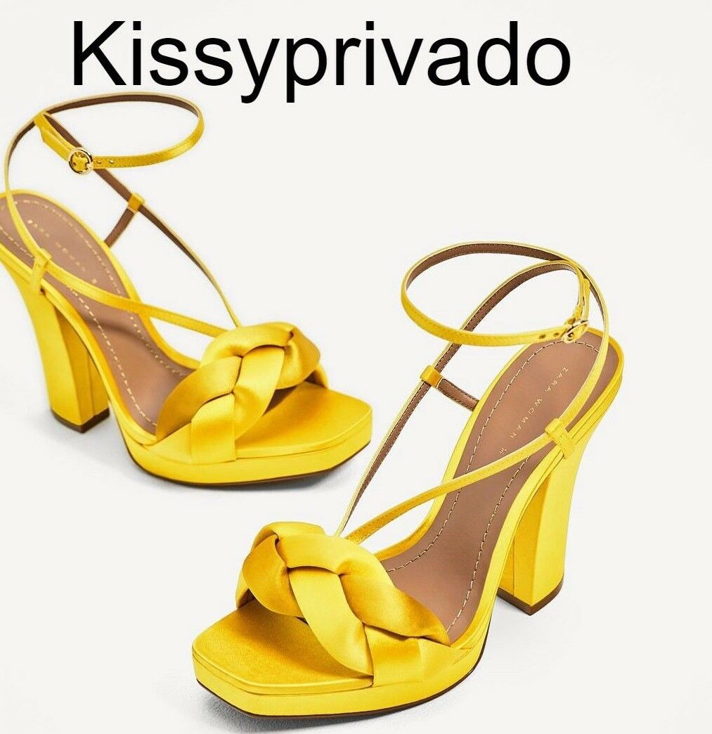ZARA Yellow Gold High Heel Satin Sandales Strappy Schuhes 37 4 BNWT 1551 201
