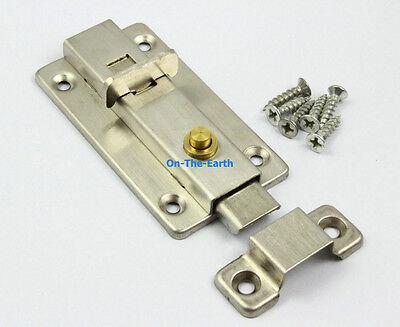 "2 Press Open 3"" Spring Slide Bolt Door Latch Lock / Stiainless Steel"