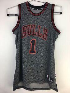 Details about Adidas Chicago Bulls Jersey Size L- #1 Derrick Rose Black Gray