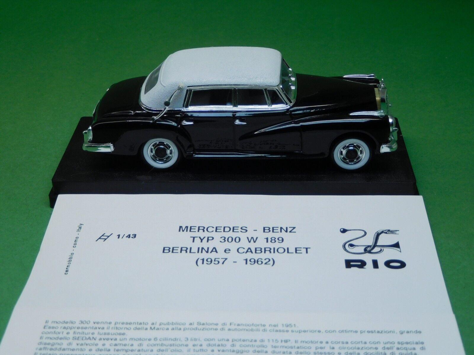 MB Mercedes Benz 300 300 300 d cabriolet 1958 Rio 1 43 N°101 Modellfahrzeug OVP NEU 6e412c