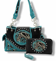 Western Horse Head Concealed Carry Shoulder Purse Set