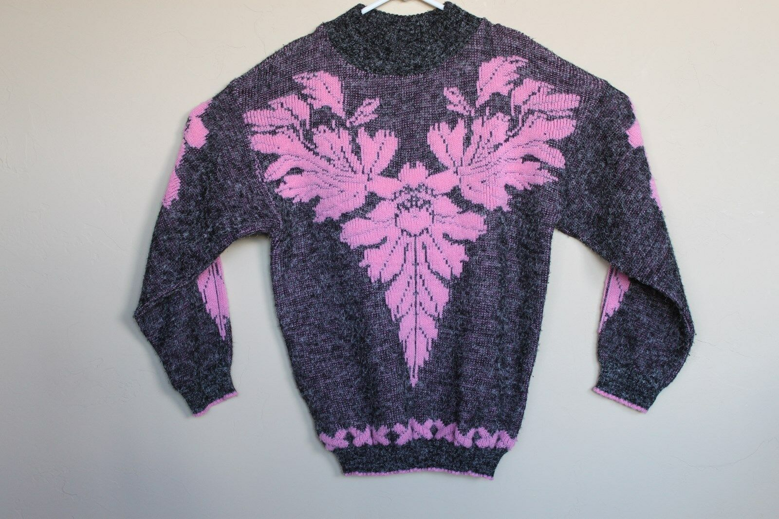 Vintage Arielle Sweatshirt Knit Rosa and grau damen M L