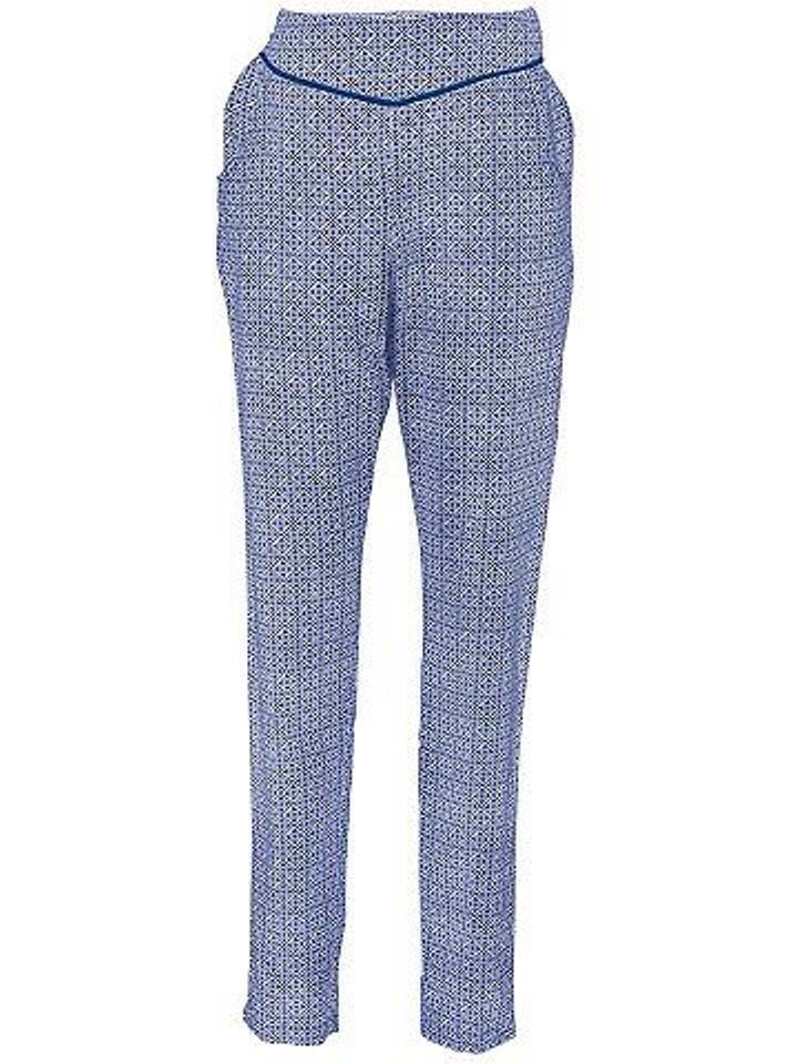 B.c. Femmes Druckhose Pantalon Fuselé Motif Viscose Bleu Ecru Taille 19 076529
