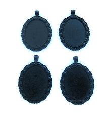 4 Goth Metallic GOTHIC BLACK DUTCHESS 40mm x 30mm CAMEO PENDANTS Frames Settings