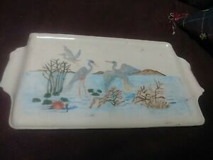 Folk Art Unusual Hand Painted Ceramic Tray Birds Landscape Primitive Vintage