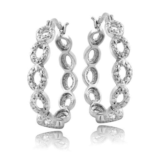 925 Argent Diamant Accent Marquise lien Boucles d/'oreilles Créoles