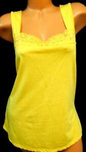 Golden-yellow-floral-lace-trim-collar-sleeveless-women-039-s-plus-size-top-XL