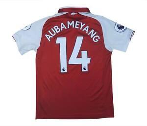 Arsenal 2017-18 autentico home shirt AUBAMEYANG #14 (eccellente) M SOCCER JERSEY