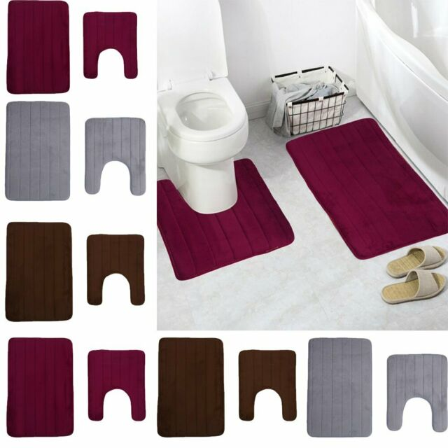 Bathroom Soft Non-slip Memory Foam Pad Bath Toilet Absorbent Mat Rug Pad Carpet