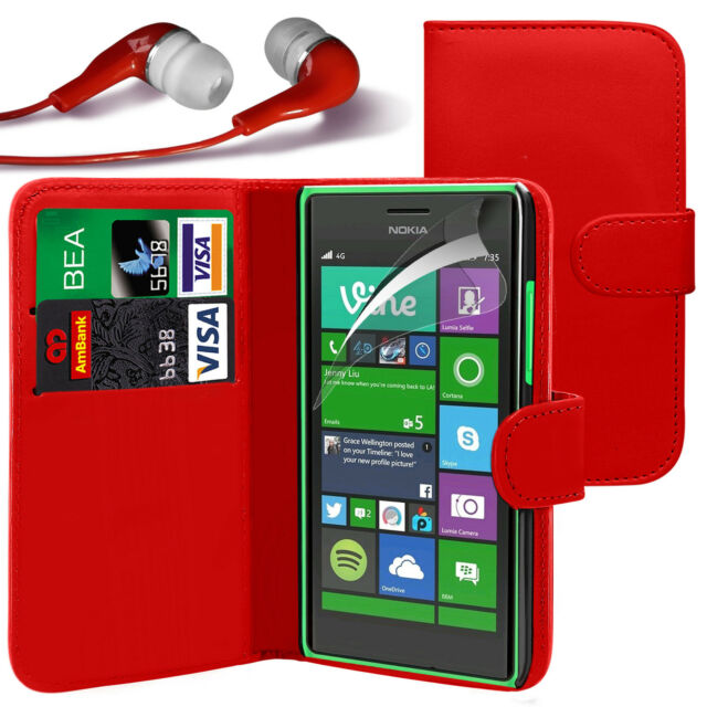 Red PU Leather Wallet Flip Case Cover, LCD Film & Earphone For Various Phones