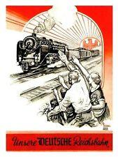 WW2 - Photo Affiche de propagande allemande - Unsere Deutsche Reichsbahn