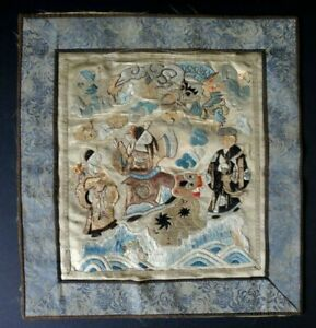 Ancienne-broderie-soie-chine-Old-chinese-silk-embroidery-phoenix-dragon-foo-XIX