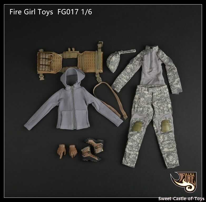 1 6 Fire Girl Toys Accessory FG017 Female Tactical Shooter Clothes Suit Uniform