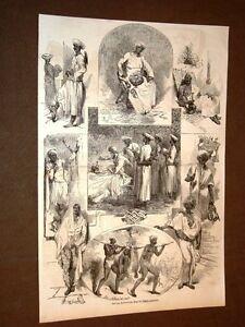 Gravure-annee-1858-Service-domestique-dans-les-Indes-anglaises