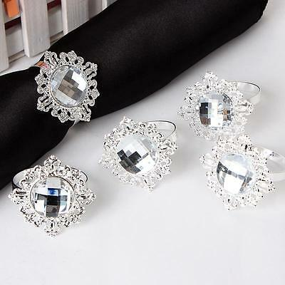 12pcs Diamond Napkin Ring Serviette Holder Wedding Banquet Dinner Decor Favor