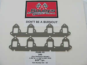 Details about Ford FE 390 Exhaust Gaskets (for Emission Heads) (1 400