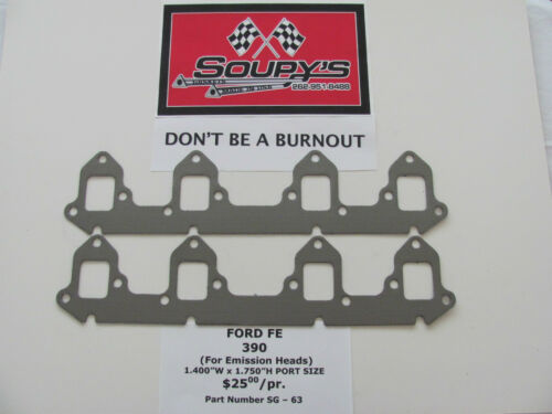 """1.400/""""W x 1.750/""""H Port Size Ford FE 390 Exhaust Gaskets for Emission Heads"""
