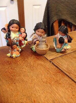 3 Friends of The Feather Enesco Figures Indian Girls